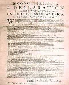 Broadside version, Declaration of Independence